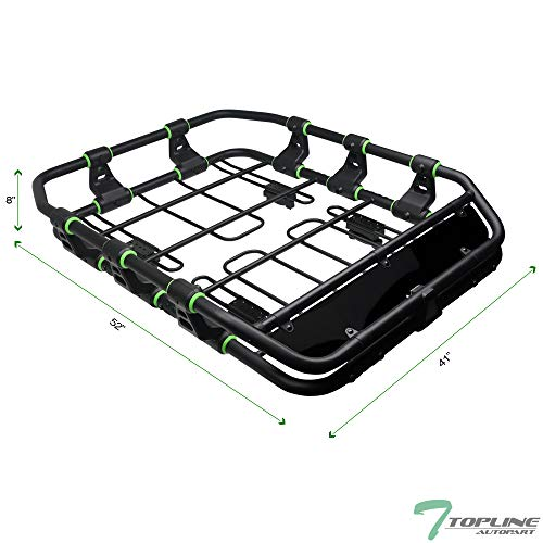 Topline Autopart Universal Modular Sport Design Heavyduty Steel Roof Rack Cargo Basket Carrier Travel Luggage Storage with Wind Fairing (Matte Black/Green)