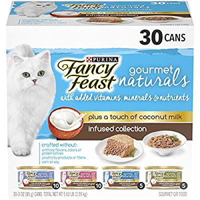 Purina Fancy Feast Natural Wet Cat Food Variety Pack, Gourmet Naturals With Coconut Milk Infused Collection - (30) 3 oz. Cans