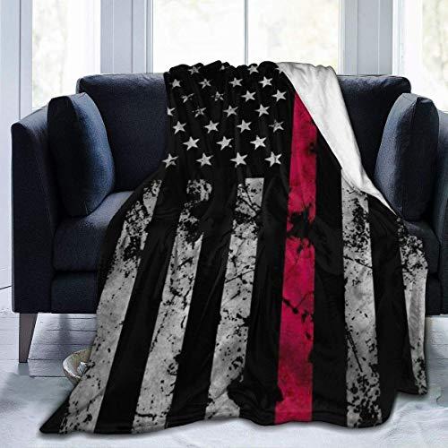 AEMAPE Manta de Microfibra, Manta de Felpa Suave para niños, niñas, Mantas para Cama, sofá, sillón, Bombero, Delgada línea roja, Bandera Estadounidense, 50 x 40 Pulgadas