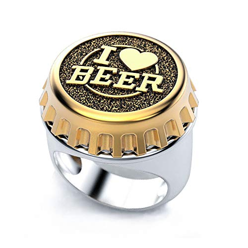PuuuK Kreatives Design I Love Beer Ring Zwei-Ton-Bier-Abdeckung Punk Männer Hip Hop-Art Vatertags-Freund, Gold,8