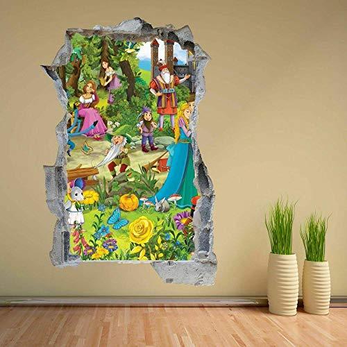 HUGF Wandtattoo Fairy Tale Princess Dwarfs 3D Wall Sticker Mural Decal Kids Room