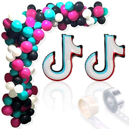 Tik Tok - Juego de globos para decoración de despedida de soltera (negro, rosa, verde turquesa y blanco)