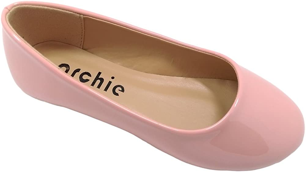 Archie CHANTOO Little/Big Girls' Ballerina Dress Shoes with Patent PU Leather (Pink, 3 M US Little Kid)
