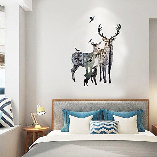 CAOLATOR Wandtattoo Hirsch Muster Kreativ Wandaufkleber Mode-Stil PVC Klebeband Aufkleber Wandsticker Für die Wanddekoration Schlafzimmer Kinderzimmer(109 * 78cm)