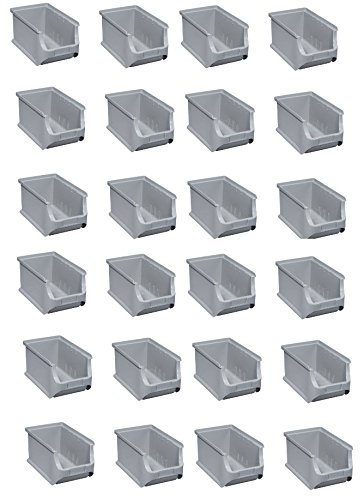 24x Stapelboxen Gr. 3 Grau Lagerboxen Lagerkiste ProfiPlus Box Allit 456223