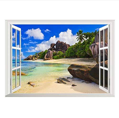 zwyluck 3D-muursticker, 3D-effect, aquarium, zee, huisschoen, decoratie, woonkamerdecoratie, keukenaccessoires, 70 x 50 cm