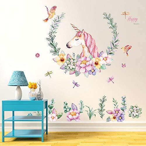 Runinsticker muurstickers, modieuze kunst, slinger, eenhoorn, dier, afneembaar, doe-het-zelf, zelfklevend, voor kinderkamer