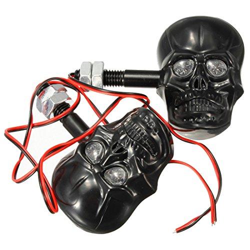 RETYLY 2X Blinker Ambra Totenkopf Skull 3D Motorrad Custom Schwarz