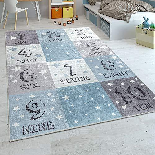 Alfombra Infantil, Tejido Plano para Habitación Infantil, Motivo De Cuadros Diseño con Números, En Azul, tamaño:140x200 cm