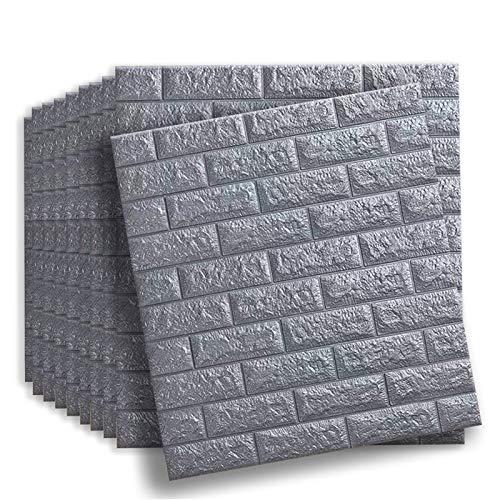 Soontrans Wallpaper 3D Brick Wallpanels Self Adhesive 77 x 70 cm (10pcs Grey Cover 5.39m²)