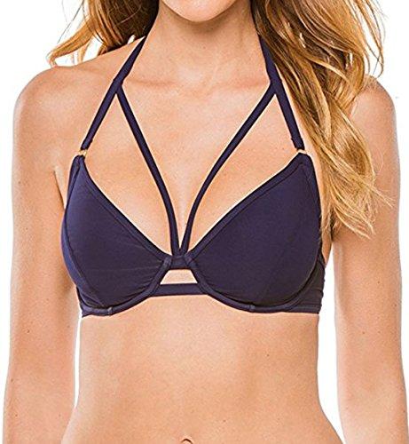 Miss Mandalay Icon Halter Bikini Top, 30G, Navy