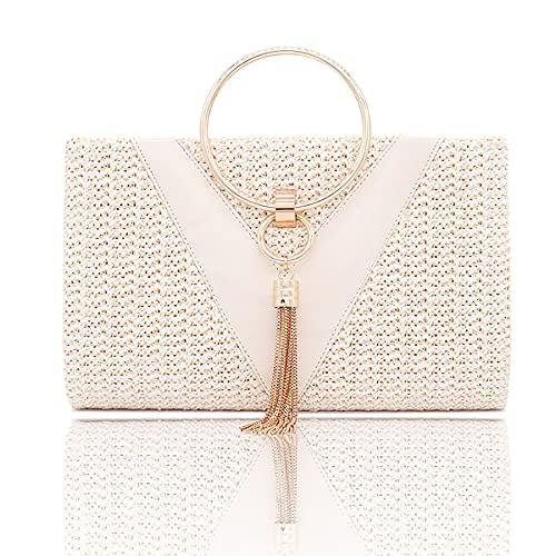 Maimango Bolso de noche para mujer, bolso de boda, bolso de novia, bolso de fiesta de cóctel (White)