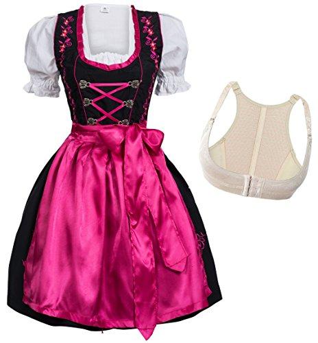 Mufimex Dirndl Set 3 TLG. Trachtenkleid schwarz mit Stickere Hakenverschluß Pink Gr.42 BH Gr.L