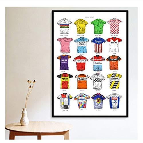 Suuyar Poster Drucke Radsport Sport Shirt Trikots Sammlung Kunst Kunst Leinwand Ölgemälde Wandbilder Wohnzimmer Home Decor-20X28 Zoll No Frame