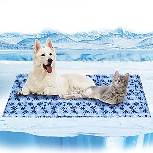 Alfombra Refrescante para Perro Gato ,Alfombra Refrescante Manta de Refrigeración para MascotasColchoneta Cama Gato Frio Animales Colchon Mascotas para Verano (XX-Large, Copo de Nieve)