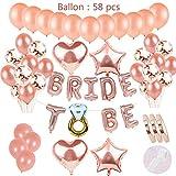 58 Stück JGA Deko Ballons Rosegold Set:Helium Buchstaben Folienballons Bride to BE Banner &30Latex Ballons &15 Konfetti Luftballon &4 Stern Herz Ballon für Tochter Mädchen Abschied...