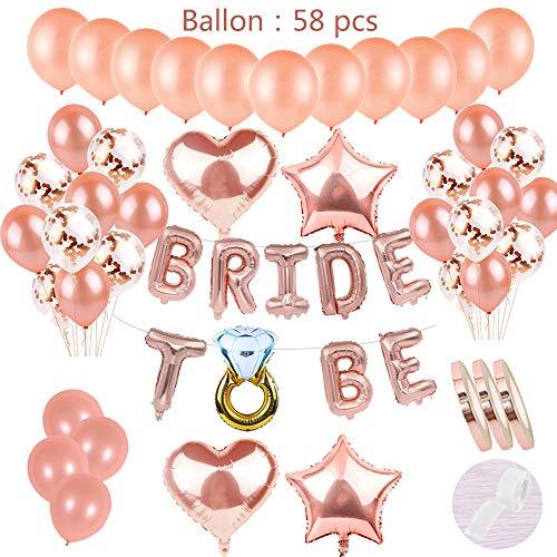 58 pzas JGA Deco Globos Juego de oro rosa: Cartas de helio Láminas de globos Novia a ser Banner y 30 látex Globos y 15 confeti Globos y 4 globos de corazones para la fiesta de Compromiso de la hija