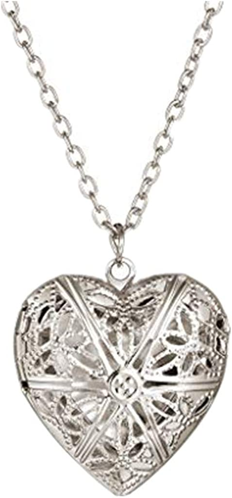 Lutos Engraved Flowers Heart Locket Pendant Necklace Charm Pendant Necklace Gift Jewelry,Creative Fashion Clothing Accessory