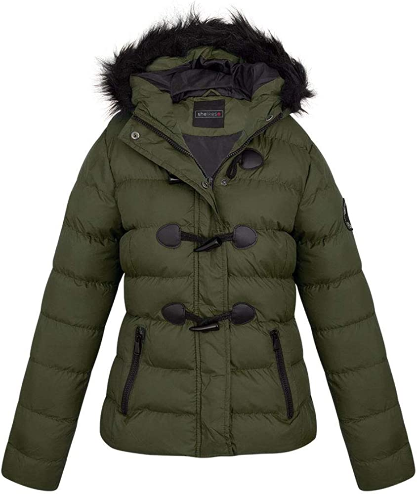 Shelikes New Womens Quilted Padded Faux Toggle Hooded 2021 autumn and Ranking TOP4 winter new Long S Fur