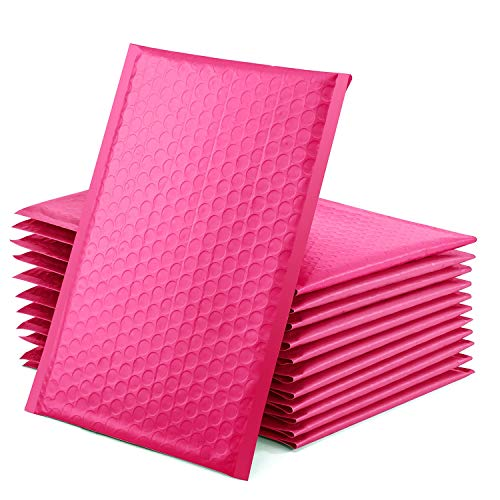 GSSUSA Padded Poly Mailers 6x10 Inches Bubble Mailer Envelopes Small Packaging Mailing Envelope Bags Shipping Bag Bulk Pack Self Seal Package Mail Packing Business Supplies, Pink 25-Pack