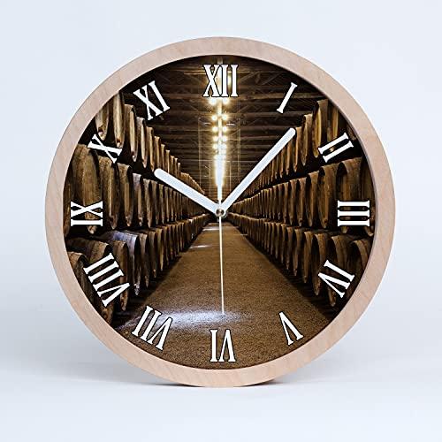 Tulup Reloj de Pared De Cuarzo Moderno  25cm Decoración Silencioso Relojes De Madera Manecillas Blancas - Vino de Oporto
