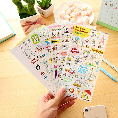 6pcs Into Kpop Stickers Pack Cartoon Cute Pigs Expression Transparent Waterproof Hand Account Decorative on The Phone Stickers