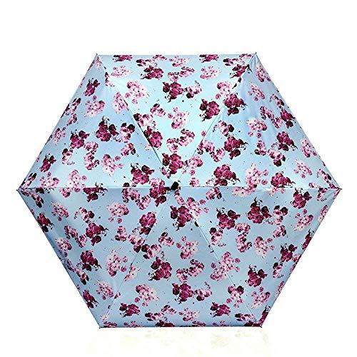 YNHNI Paraguas, paraguas de bolsillo, paraguas literario de moda, paraguas ligero, mini paraguas plegable, paraguas de mujer, protección UV, protector solar, portátil (color: azul)
