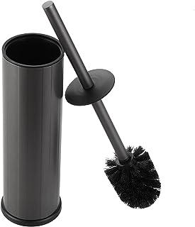 bgl Brosse WC et support, support de brosse de toilette en silicone, 2 têtes de brosse, brosse WC ronde en aluminium pour ...