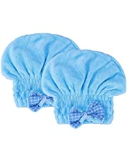 VRT Microfiber Hair Drying Towels Head wrap with Bow-Knot Shower Cap Hair Turban hairWrap Bath Cap for Curly Long & Wet Hair Gift for Women 2pack (blue)