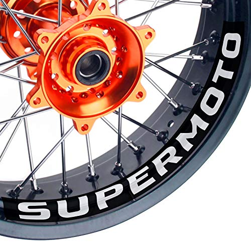 KETABAO Supermoto Wheels 17' Inner Rim Stickers Decals Compatible with KX250F KXF250 KX125 13 14 15 16 17 (White)