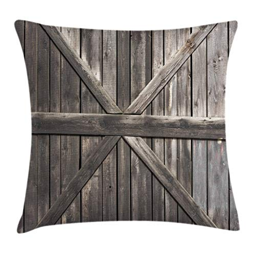 Ambesonne Rustic Throw Pillow Cushion Cover, Old Wooden Door with Planks Rustic Country Life Themed Architecture Building Doorway, Decorative Square Accent Pillow Case, 18' X 18', Taupe