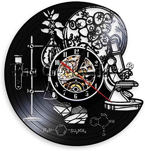 KDBWYC 1 Pieza Biología Química Ciencia Círculo Reloj de Pared de Vinilo Molécula de oxígeno Fórmula química Kid Room Nursery Arte Decorativo Reloj