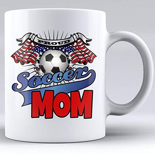 DKISEE keramische witte mok, voetbal mok, witte mok, cadeau voor moeder, trotse moeder, voetballer, cadeau van kind, voetbal moeder, Amerikaanse vlag, trotse voetbal 15oz Onecolor
