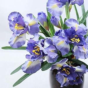 Silk Flower Arrangements Allinlove 4 Bundle 12 Heads Flowers Bouquet Long Stems Real Touch Silk Artificial Ireland Irish Iris Fake Flower Wedding Home Office Decor Flower Arrangements Table Centerpiece, 35.4''