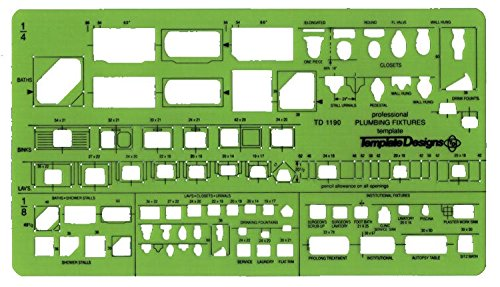 Alvin, TD1190, Plumbing Fixtures Template, Drawing/Drafting Tool - 0.125' x 9.75' x .030'