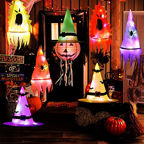 HOWAF Iluminación Bruja Sombreros Decoración para Halloween Exterior Interior, 7pcs Brillante Sombreros Halloween Colgantes Decoración para Árbol Jardín Casa Embrujada Accesorios Halloween Adornos 🔥