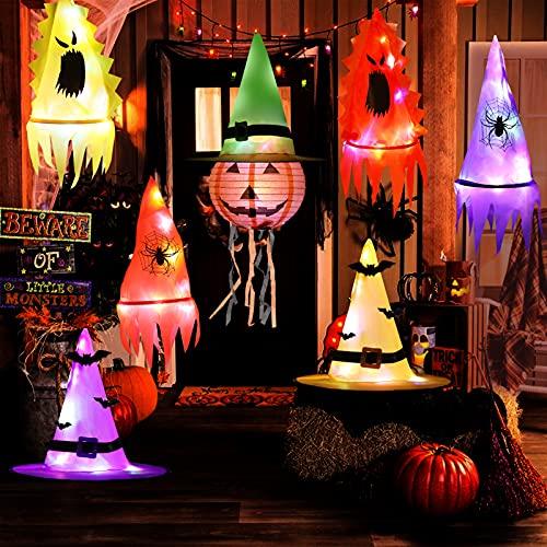 HOWAF Iluminación Bruja Sombreros Decoración para Halloween Exterior Interior, 7pcs Brillante Sombreros Halloween Colgantes Decoración para Árbol Jardín Casa Embrujada Accesorios Halloween Adornos