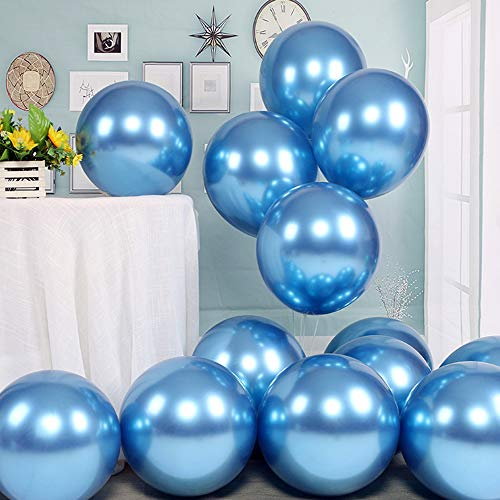 Chrome Metallic Balloons for Party 50 pcs 12 inch Thick Latex balloons for Birthday Wedding Engagement Anniversary Festival Picnic or any Friends & Family Party Decorations-Navy blue