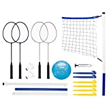 Franklin Sports Volleyball and Badminton Set - Volleyball, Pump,...