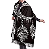 Bufanda de mantón Mujer Chales para, 27'x77' Soft Fringe Scarf Hand Drawn Moon Sun Heart Mandala Dreamcatcher Set Womens Scarfs Lightweight Cashmere Winter Scarf Stylish Large Warm Blanket