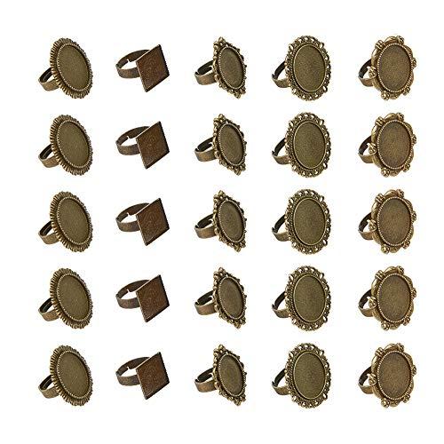 PandaHall 5 Styles 50pcs Antique Bronze Round Cabochon Ringe Einstellungen Fingerring Komponenten Eisen Cabochon Lünette Einstellungen für Ring Machen flach rund oval Platz