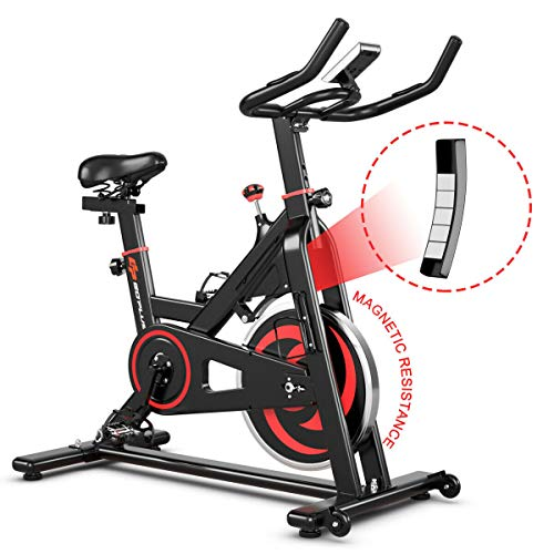 Goplus Magnetic Resistance Exercise Bike, Noise-Free Belt Drive Stationary Bicycle w/LCD Monitor and Heart Rate Sensor Indoor Cycling Bike for Home Gym Cardio Workout