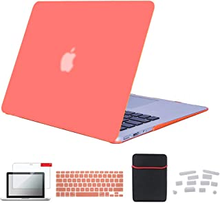 Se7enline MacBook Air 11 inch Case Soft-Touch Matte Plastic Hard Shell Laptop Cover for MacBook Air 11.6 inch A1370, A1465 with Sleeve Bag, Keyboard Cover, Screen Protector, Dust Plug,Living Coral