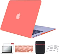 Se7enline MacBook Air 13 inch Case Plastic Hard Shell Laptop Cover for MacBook Air 2009-2018 Old Model A1369/A1466 with Screen Protector, Dust Plug, Carrying Sleeve Bag, Keyboard Cover, Living Coral