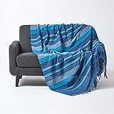 Homescapes Tagesdecke Morocco, blau, Sofa-Überwurf aus 100prozent Baumwolle, weiche Wohndecke 150 x 200 cm, blau gestreift, mit Fransen