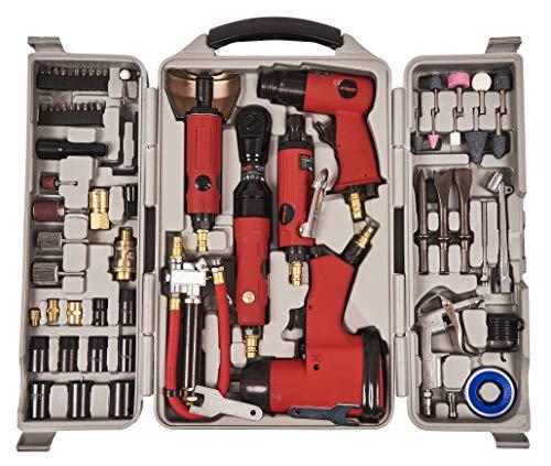 Kit da 77 strumenti ad aria compressa.   Ideale per i professionisti e fai-da-te.  Forniti con una resistente custodia pieghevole da trasporto in plastica soffiata. Con marchio Am-Tech. Ideale come regalo.