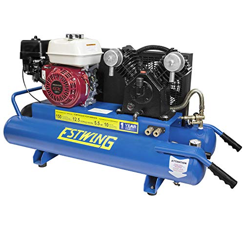 Estwing E10GCOMP 10 Gallon 5.5 HP Portable Gas-Powered Twin Stack Air Compressor with Honda GS 160 4-Stroke Engine
