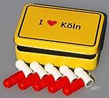 Domstadt-Magnet-Set 'I love KÖLN' im Ortsschild-Look, 10 Kühlschrank-Magnete Neodym (sehr kräftisch!-) in Fan-Farben, mit Metalldose!