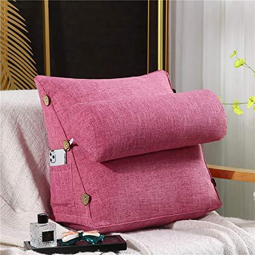 YUDIZWS Almohada de cuña para la Espalda, Almohada Triangular con Soporte para la Espalda, sofá Cama para el Cuello para Dormir, para el hogar, Oficina, Almohada Lumbar de algodón,Begonia Red