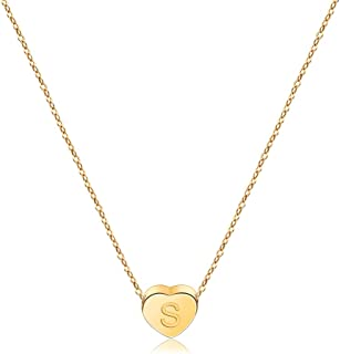 Heart Pendant Initial Necklaces for Girls,Letter A-Z Necklace Gifts Gold Plated,Necklaces for Teen Girls Birthday Gifts for 6-18 Year Old Girls